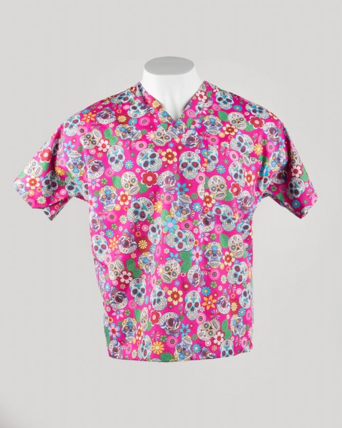 Pink Halloween Short Sleeve Scrub Top 100% Cotton