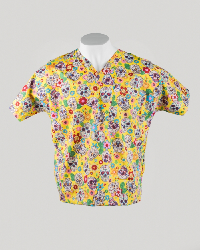 Yellow Halloween Short Sleeve Scrub Top 100% Cotton