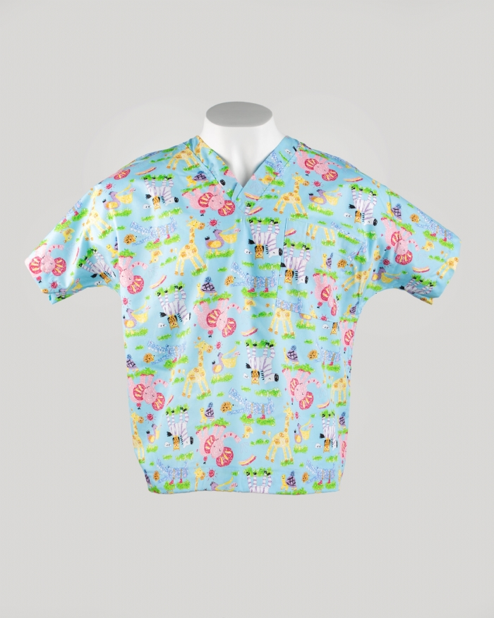 Nursery Animals Short Sleeve Scrub Top 100% Cotton