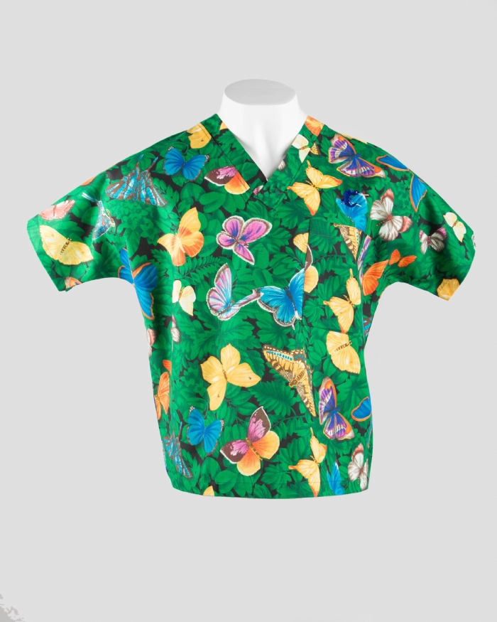 Butterfly Garden Short Sleeve Scrub Top 100% Cotton