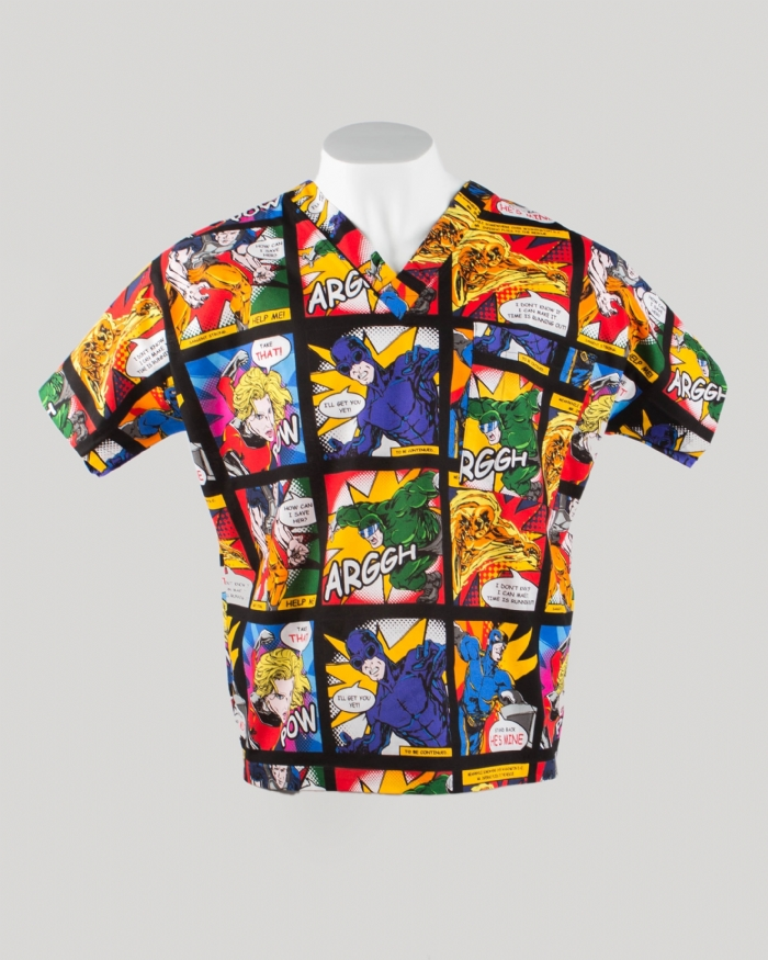 Action Comic Short Sleeve Scrub Top 100% Cotton