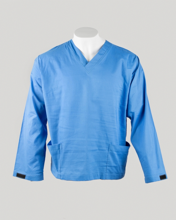 Blue Long Sleeve Scrub Top Velcro Cuff 100% Cotton