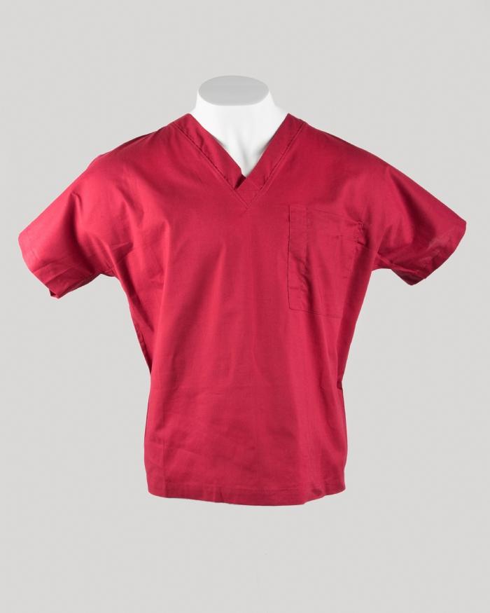 Burgundy Short Sleeve Scrub Top 100% Cotton