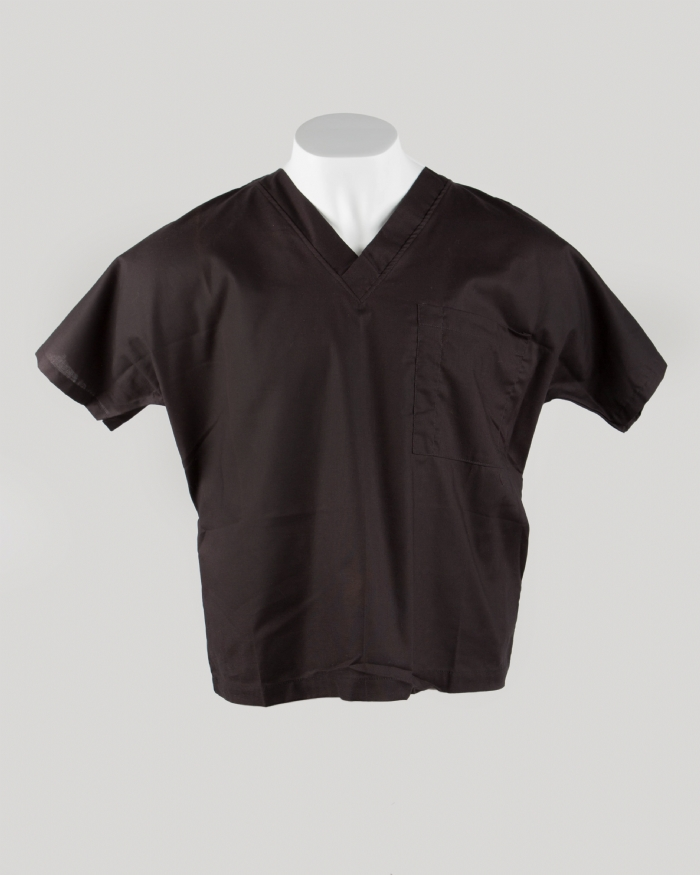Black Short Sleeve Scrub Top 100% Cotton