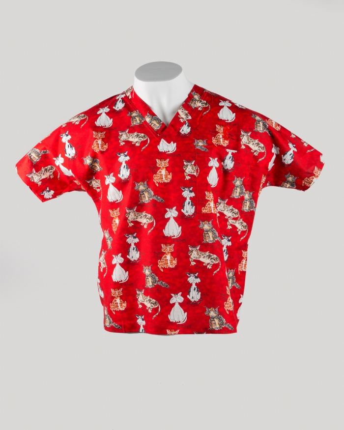 Red Cats Short Sleeve Scrub Top 100% Cotton