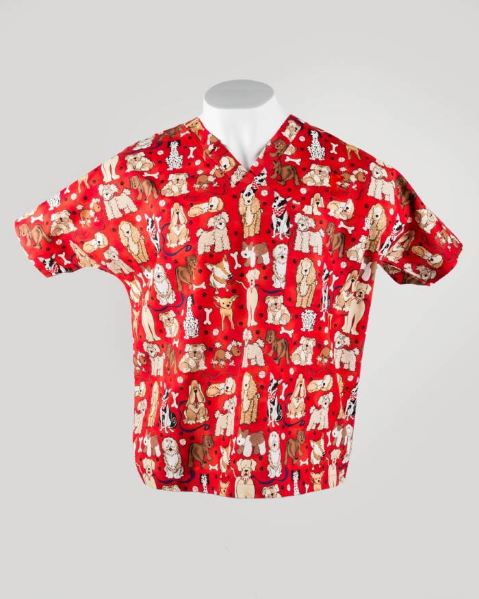 Red Dogs Short Sleeve Scrub Top 100% Cotton