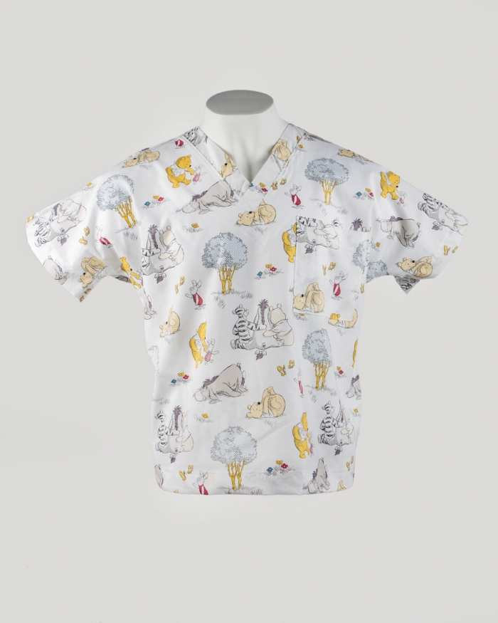Disney Winnie the Poo Short Sleeve Scrub Top 100% Cotton