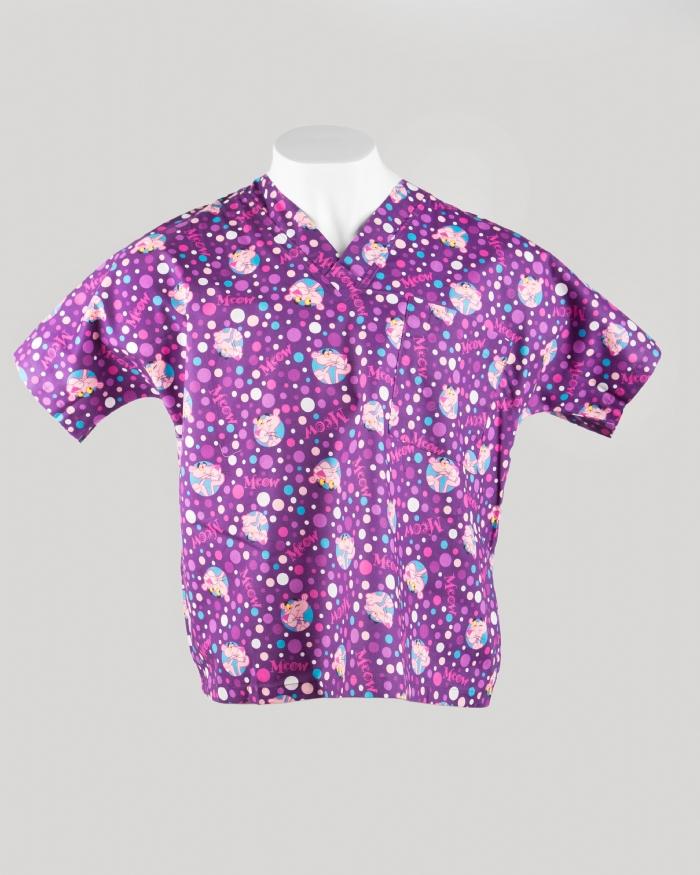 Purple Pink Panther Short Sleeve Scrub Top 100% Cotton