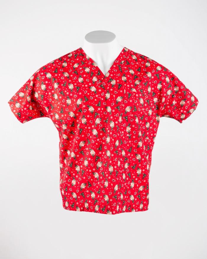 Christmas Fox Short Sleeve Scrub Top 100% Cotton
