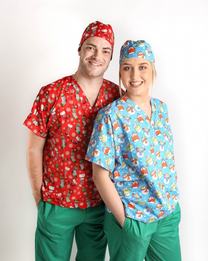 Christmas Snowman Short Sleeve Scrub Top 100% Cotton