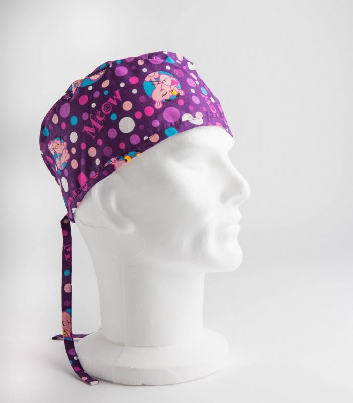 Purple Pink Panther Surgeons Hat 100% Cotton