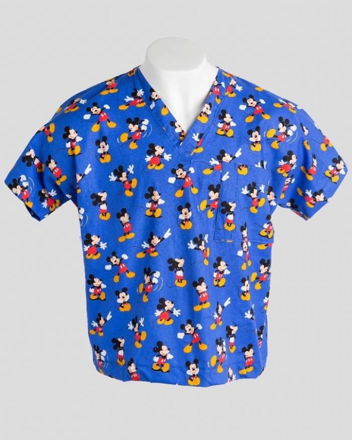 Disney Blue Micky Mouse Short Sleeve Scrub Top 100% Cotton
