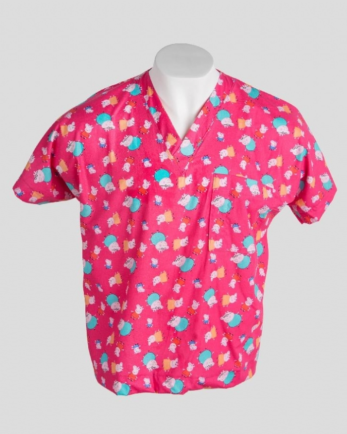 Pink Peppa Pig Short Sleeve Scrub Top 100% Cotton