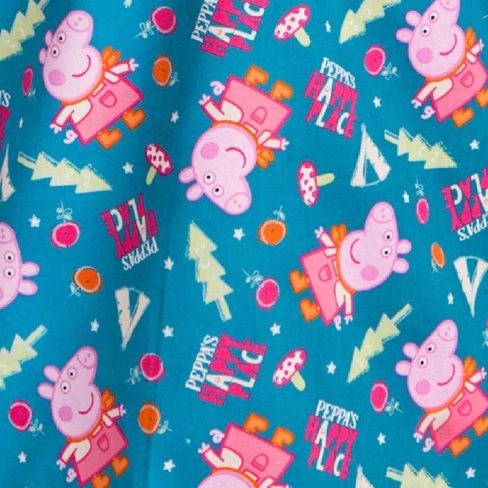 Blue Peppa Pig Short Sleeve Scrub Top 100% Cotton