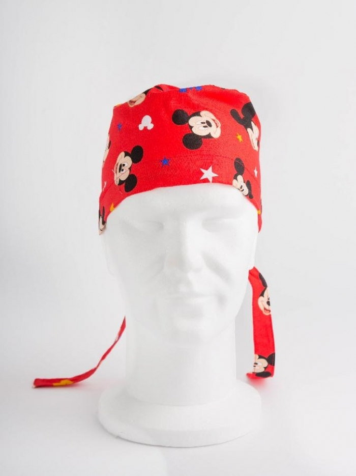 Disney Red Micky Mouse Surgeons Hat 100% Cotton