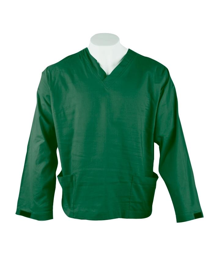Emerald Long Sleeve Scrub Top Velcro Cuff 100% Cotton
