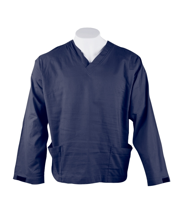 Navy Long Sleeve Scrub Top Velcro Cuff 100% Cotton