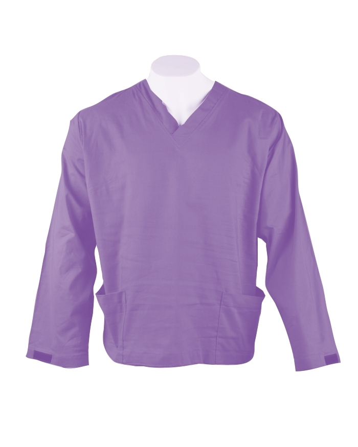 Lavender Long Sleeve Scrub Top Velcro Cuff 100% Cotton