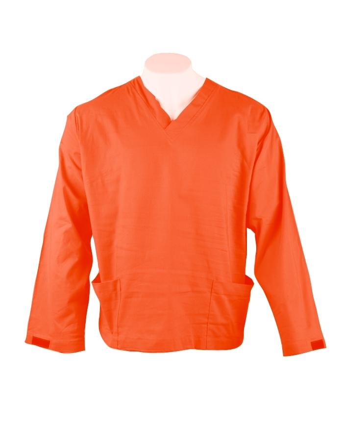 Orange Long Sleeve Scrub Top Velcro Cuff 100% Cotton
