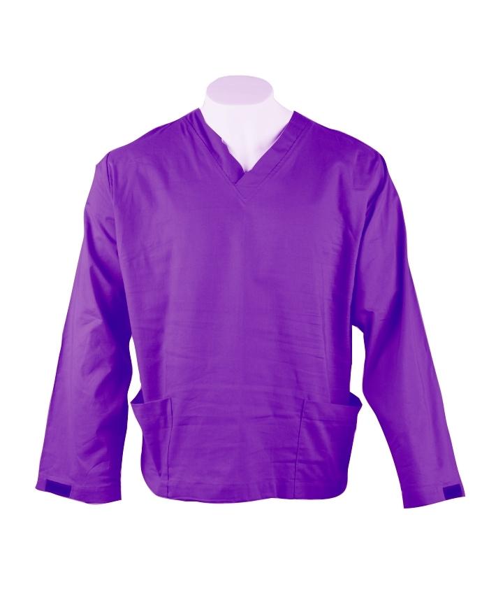 Purple Long Sleeve Scrub Top Velcro Cuff 100% Cotton