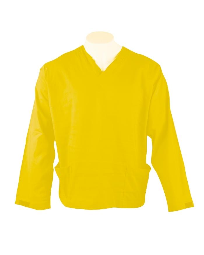 Yellow Long Sleeve Scrub Top Velcro Cuff 100% Cotton