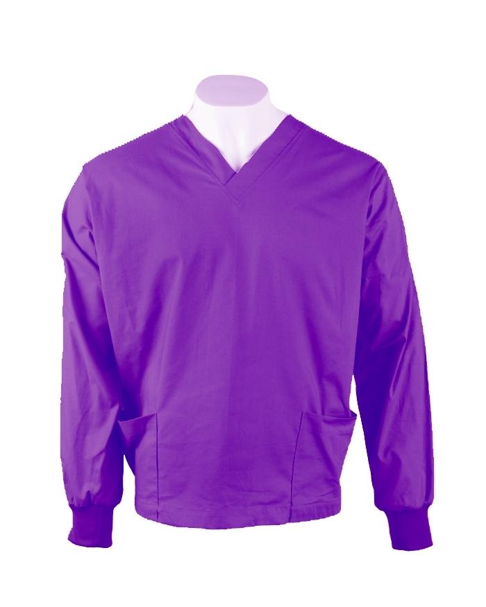 Purple Long Sleeve Scrub Top Elastic Cuff 100% Cotton