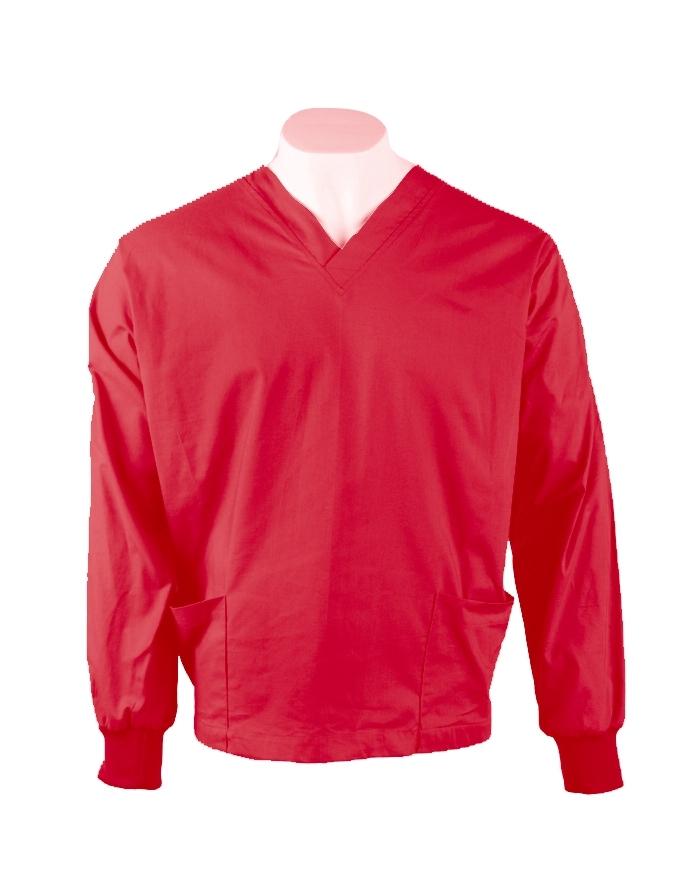 Red Long Sleeve Scrub Top Elastic Cuff 100% Cotton