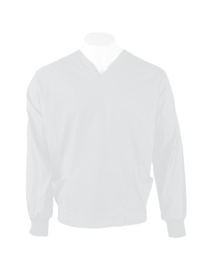 White Long Sleeve Scrub Top Elastic Cuff 100% Cotton