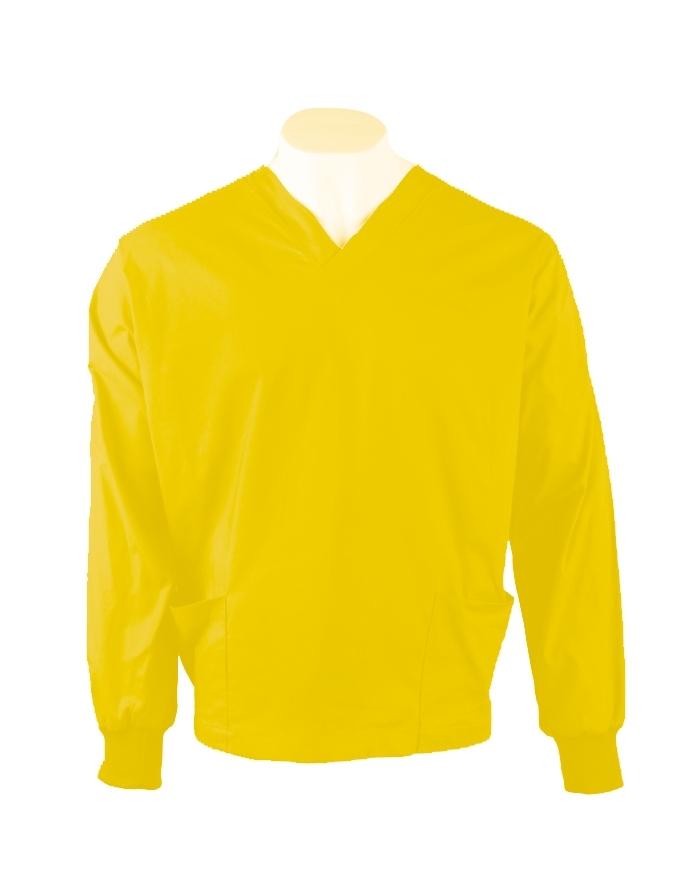 Yellow Long Sleeve Scrub Top Elastic Cuff 100% Cotton