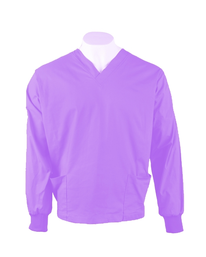 Lilac Long Sleeve Scrub Top Elastic Cuff 100% Cotton