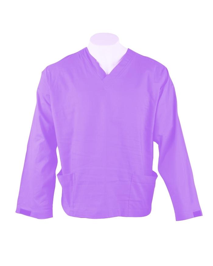 Lilac Long Sleeve Scrub Top Velcro Cuff 100% Cotton