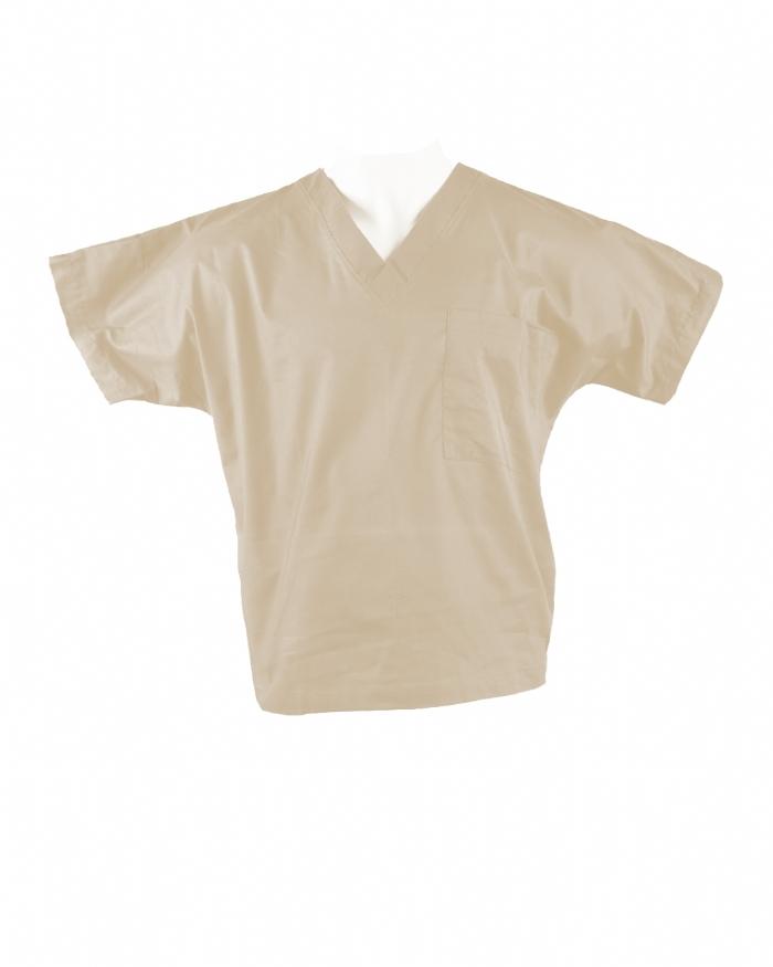Beige Short Sleeve Scrub Top 100% Cotton