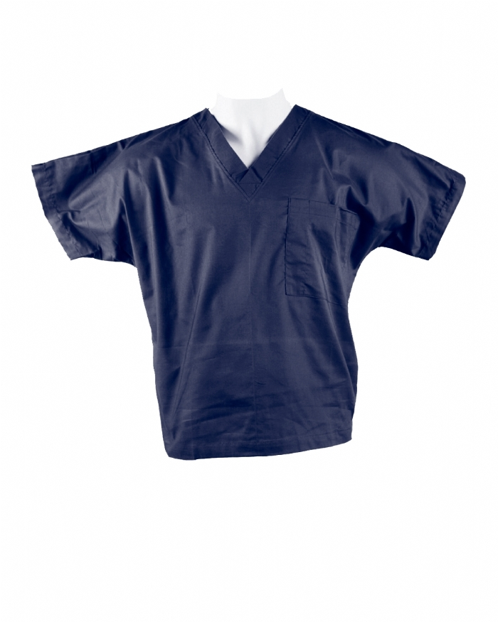 Navy Short Sleeve Scrub Top 100% Cotton