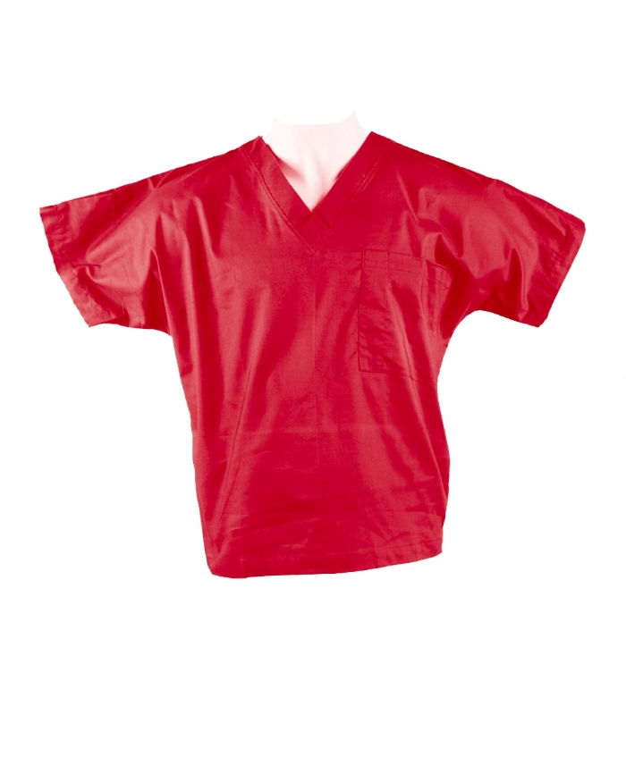 Red Short Sleeve Scrub Top 100% Cotton