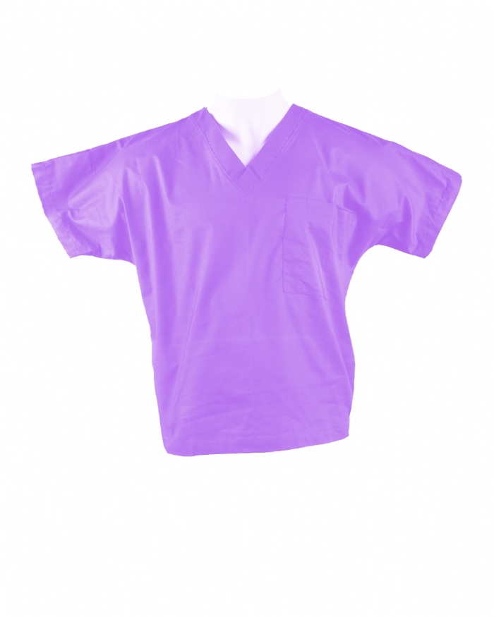 Lilac Short Sleeve Scrub Top 100% Cotton