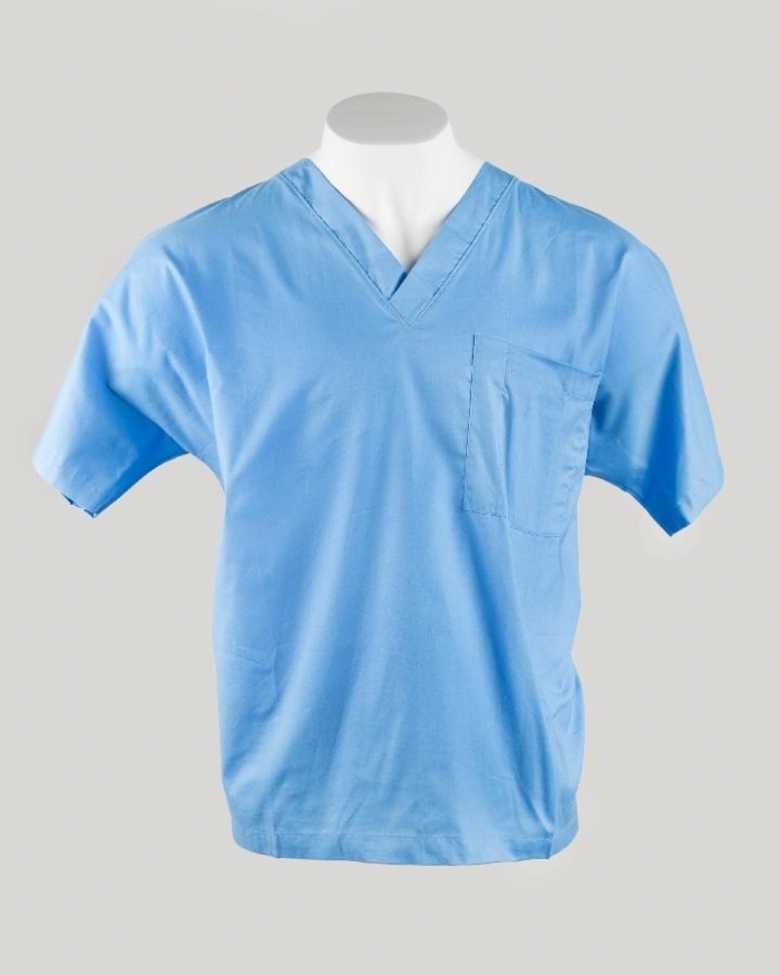 Hospital Blue Short Sleeve Scrub Top 100% Cotton