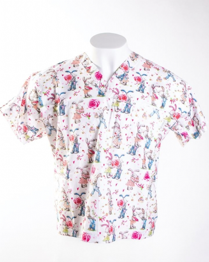 Loved Up Rabbits Short Sleeve Scrub Top 100% Cotton