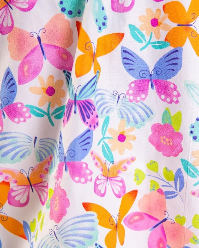 Multicolored Butterflies Short Sleeve Scrub Top 100% Cotton