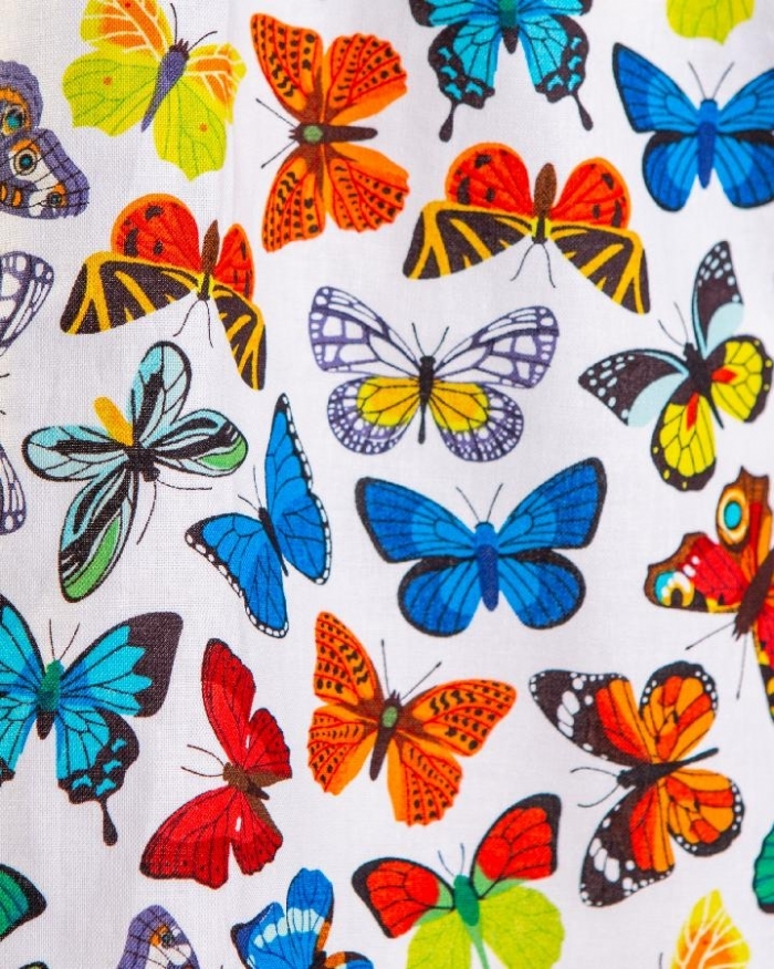 Multicolored Butterflies II Short Sleeve Scrub Top 100% Cotton