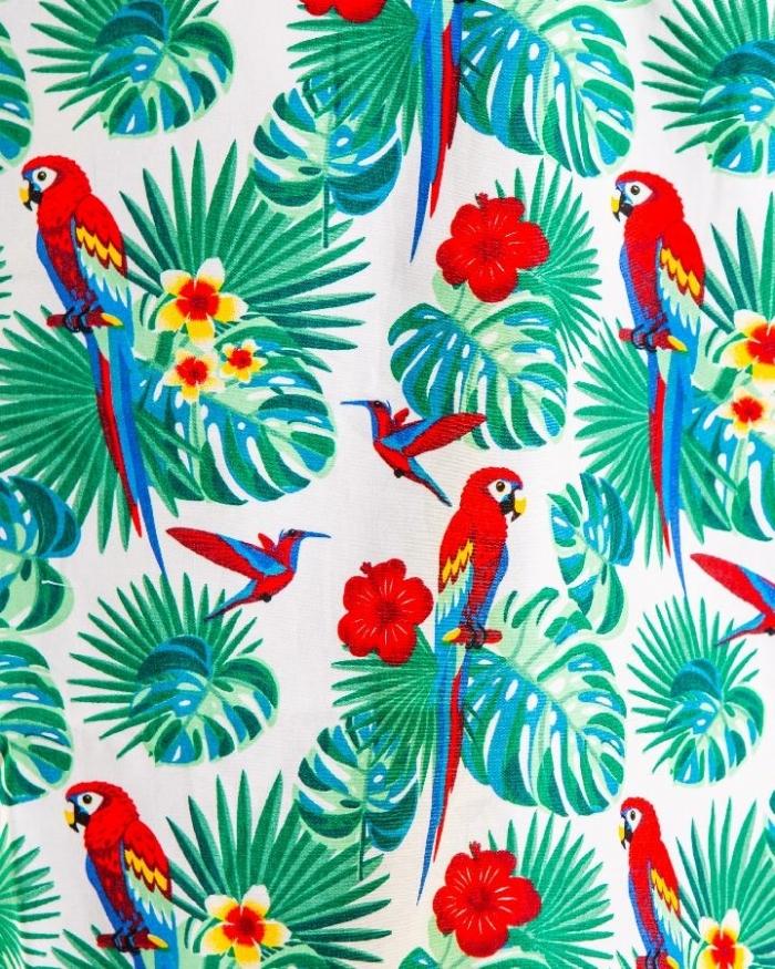 Rose & Parrot White Short Sleeve Scrub Top 100% Cotton