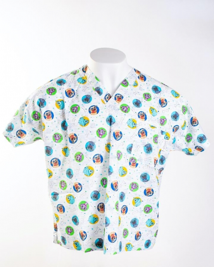 Puppy Dog Pals Short Sleeve Scrub Top 100% Cotton