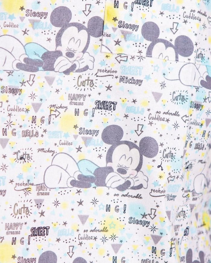 Disney Sleeping Micky Mouse Short Sleeve Scrub Top 100% Cotton