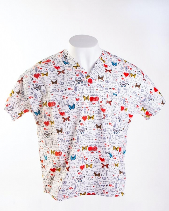 I Love You Butterfly Short Sleeve Scrub Top 100% Cotton