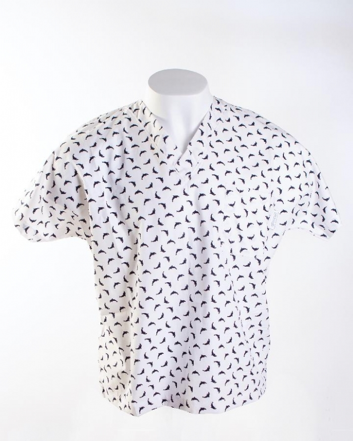 White Dolphin Short Sleeve Scrub Top 100% Cotton