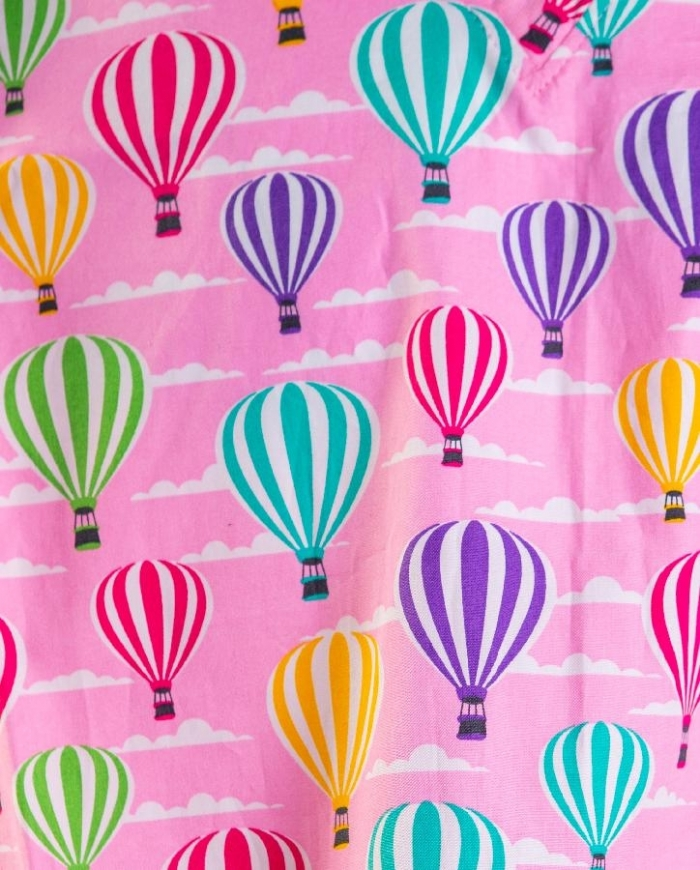 Pink Hot Air Balloons Short Sleeve Scrub Top 100% Cotton