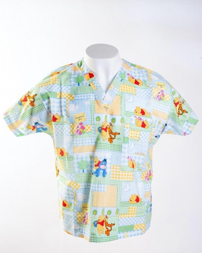 Disney Winnie The Poo & Friends Short Sleeve Scrub Top 100% Cotton