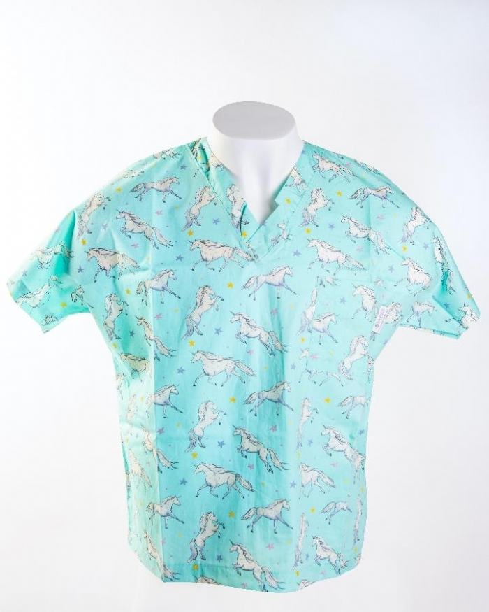 Blue Magical Unicorn Short Sleeve Scrub Top 100% Cotton
