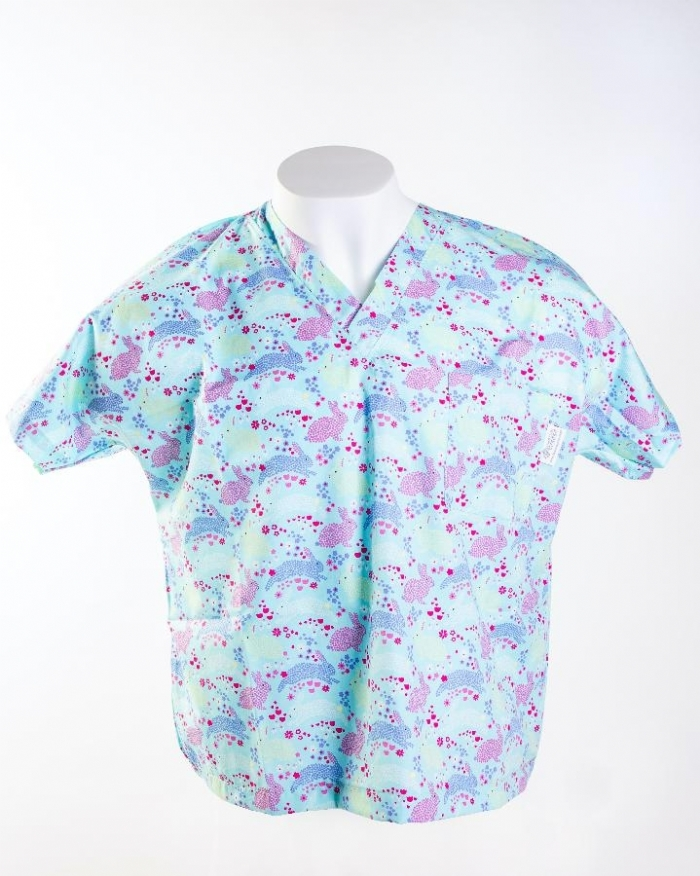 Multicolored Rabbits Short Sleeve Scrub Top 100% Cotton