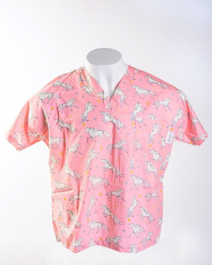 Pink Magical Unicorn Short Sleeve Scrub Top 100% Cotton