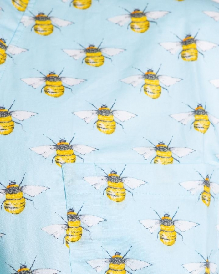 Bumble Bee Sky Short Sleeve Scrub Top 100% Cotton